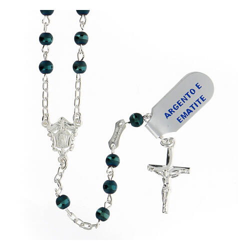 Rosario hematites azul 4 mm plata 925 cruce María 1
