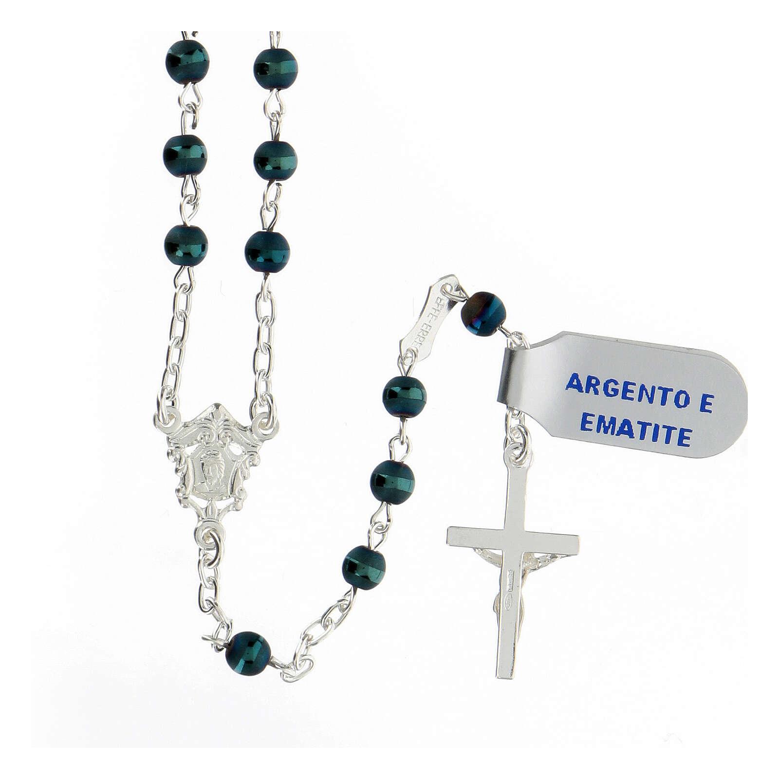 Chapelet hématite bleue 4 mm argent 925 médaille Marie 4