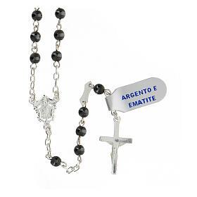 Rosario plata 925 crucifijo granos hematites gris 4 mm s2