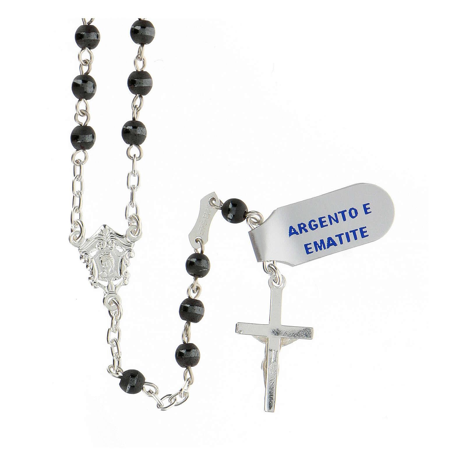 Chapelet argent 925 crucifix grains hématite grise 4 mm 4
