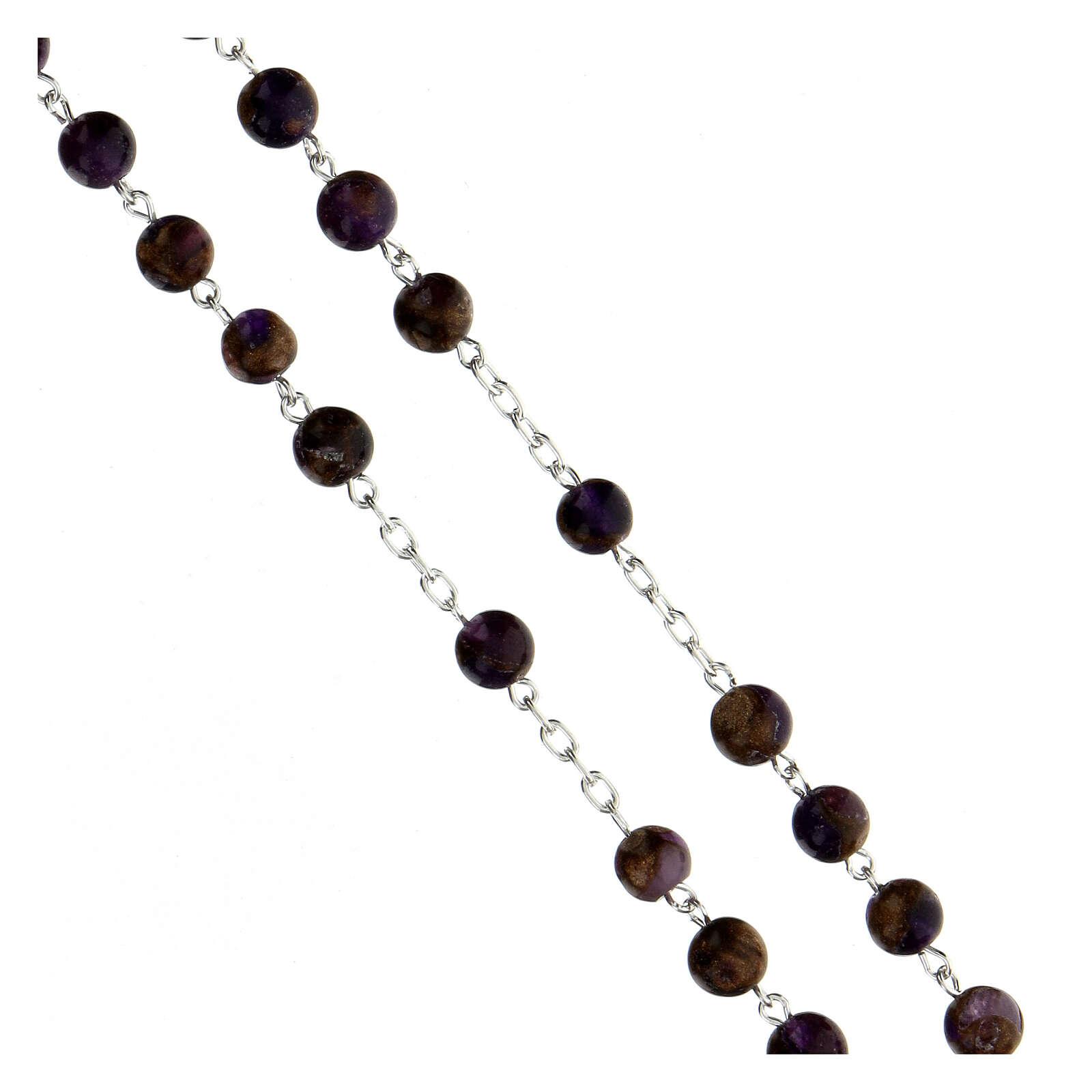 Rosario grani 6 mm agata viola bronzo catena argento 925 4