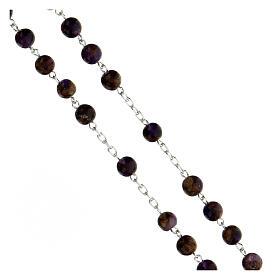 Rosario grani 6 mm agata viola bronzo catena argento 925 s3