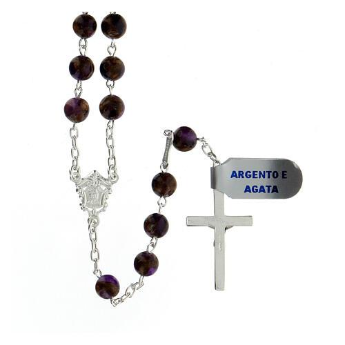 Rosario grani 6 mm agata viola bronzo catena argento 925 2