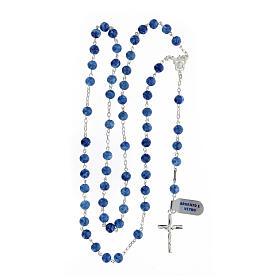 Rosario plata 925 crucifijo granos vidrio azul 6 mm s4