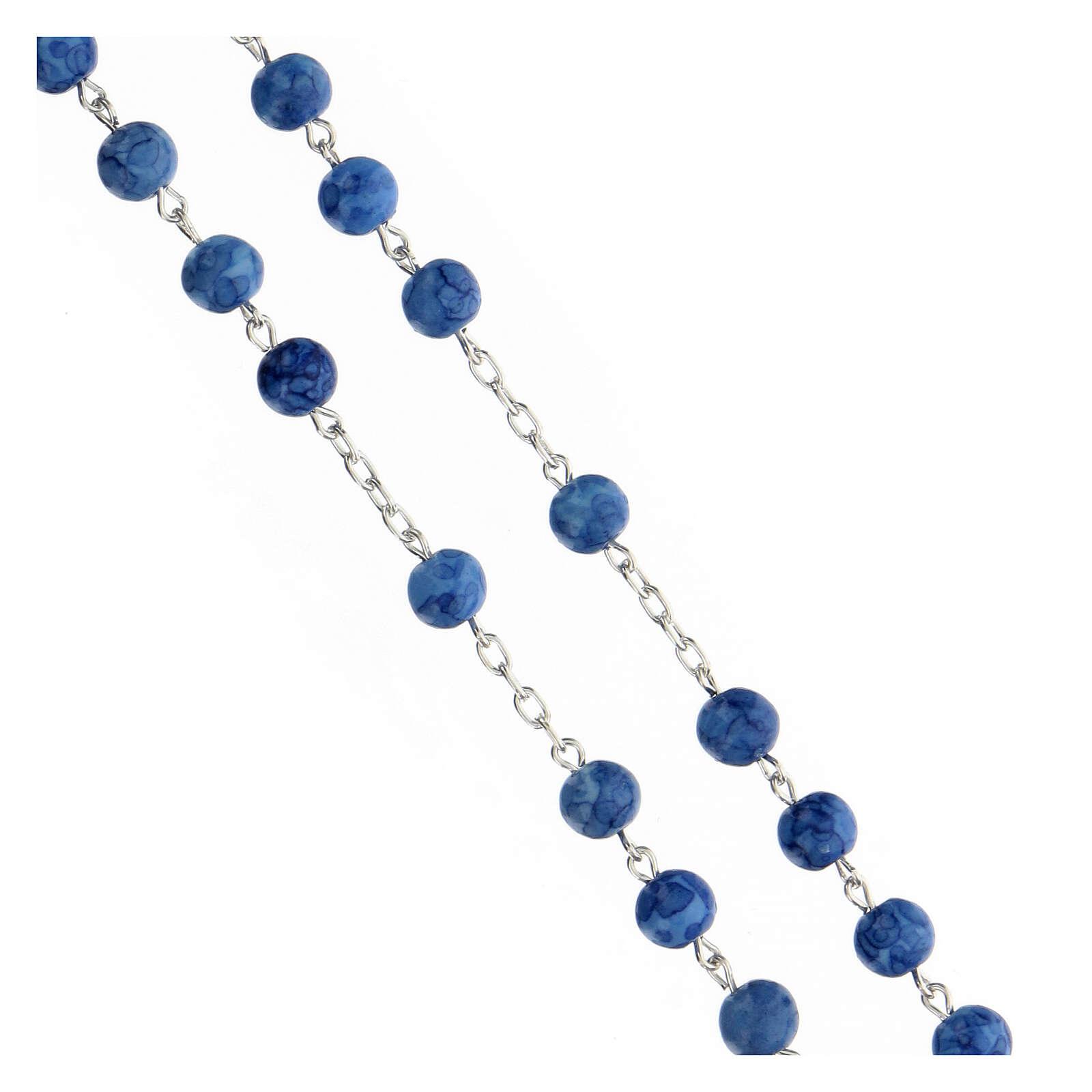 Rosario argento 925 crocefisso grani vetro blu 6 mm 4