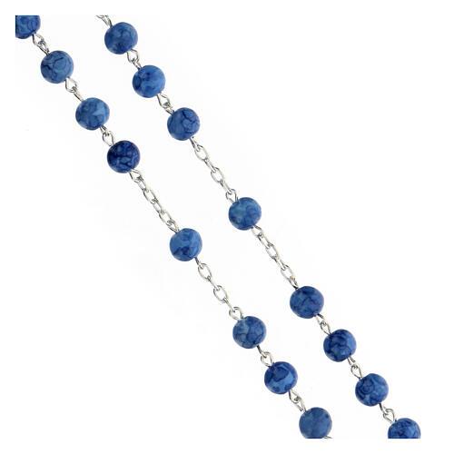 Rosario argento 925 crocefisso grani vetro blu 6 mm 3