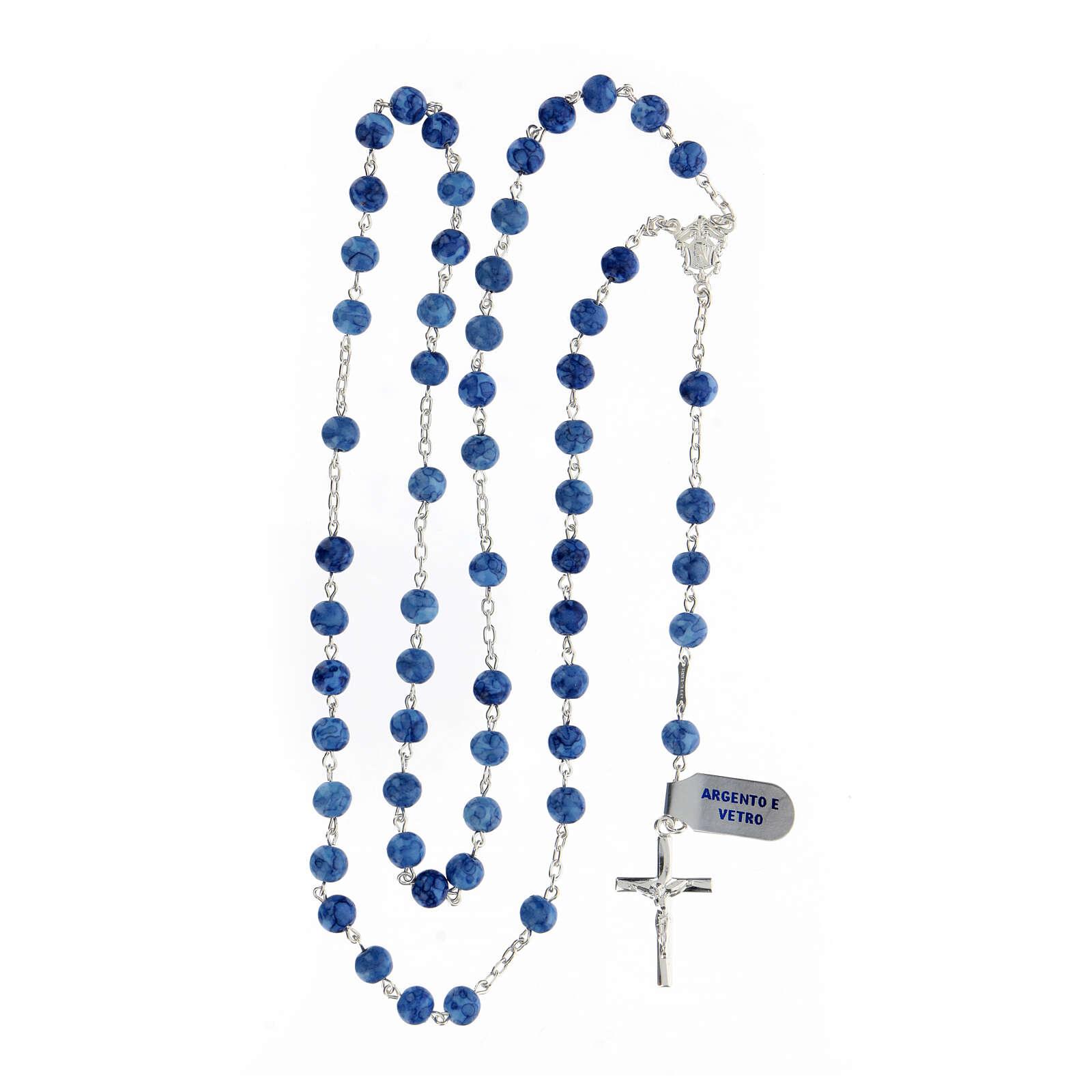 Teço prata 925 com crucifixo e contas 6 mm vidro azul 4