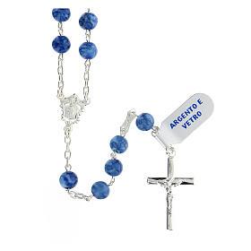 Teço prata 925 com crucifixo e contas 6 mm vidro azul s1