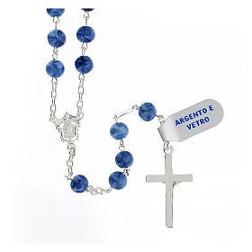 Teço prata 925 com crucifixo e contas 6 mm vidro azul s2
