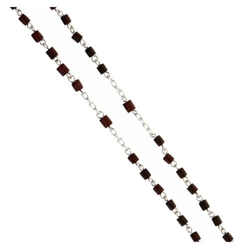 Rosario grani legno mogano 4x4 mm argento 925 crociera Maria 3