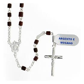 Teço prata 925 com contas 4x4 mm madeira de mogno passador Nossa Senhora e Jesus s1