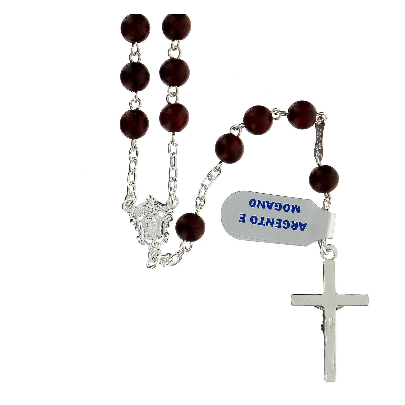 Rosario madera caoba granos 6 mm plata 925 cruz moderna 4