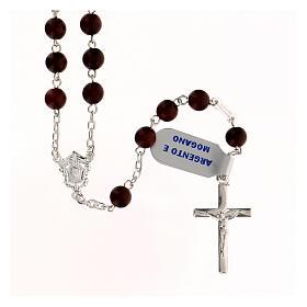 Rosario madera caoba granos 6 mm plata 925 cruz moderna s1