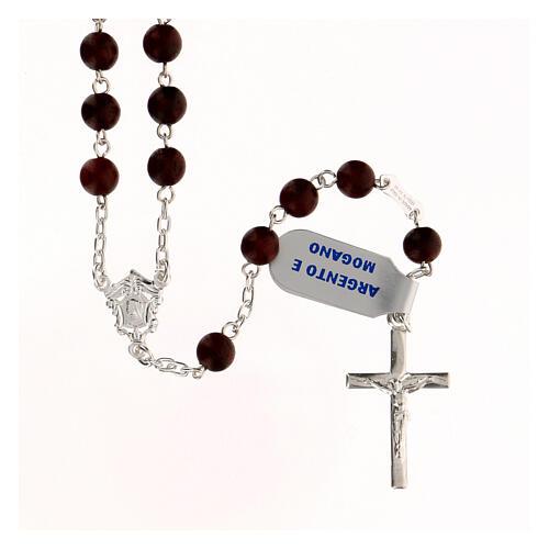 Rosario madera caoba granos 6 mm plata 925 cruz moderna 1