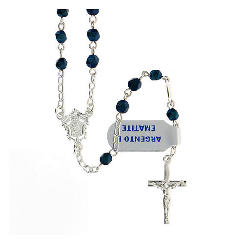 Rosario hematites tallada azul oscuro 4 mm plata 925 2