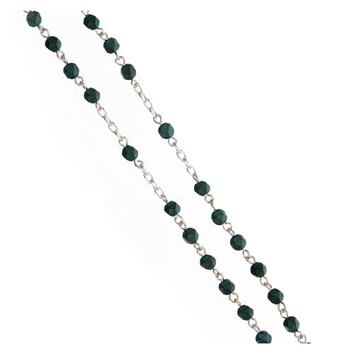 Rosario grani a sassotto 4 mm ematite verde argento 925 3
