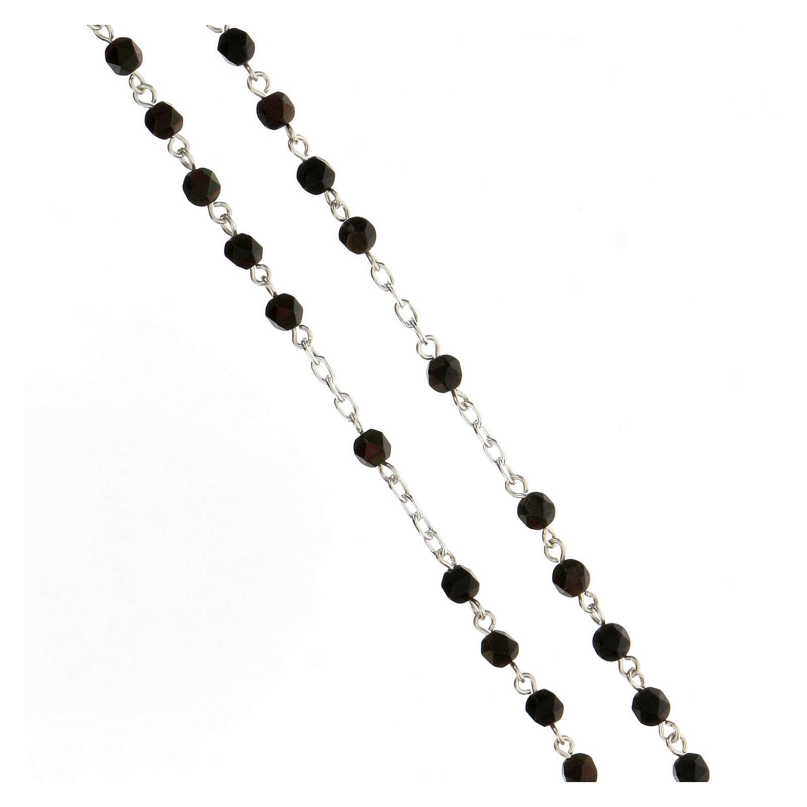 Rosario argento 925 grani sassotto ematite marrone 4 mm 4