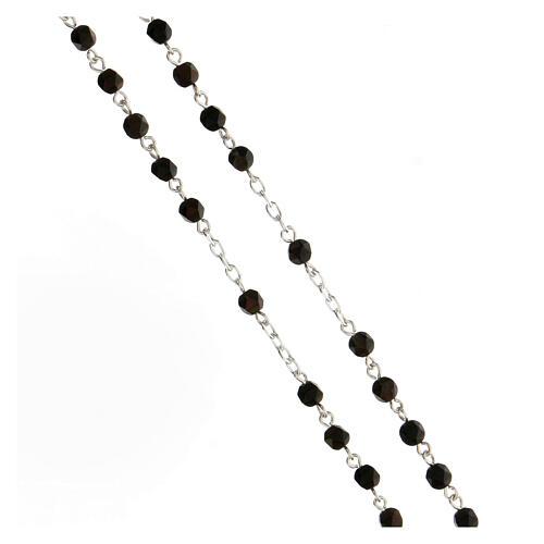 Rosario argento 925 grani sassotto ematite marrone 4 mm 3