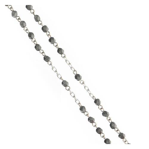 Rosario granos piedras hematites gris 4 mm plata 925 3