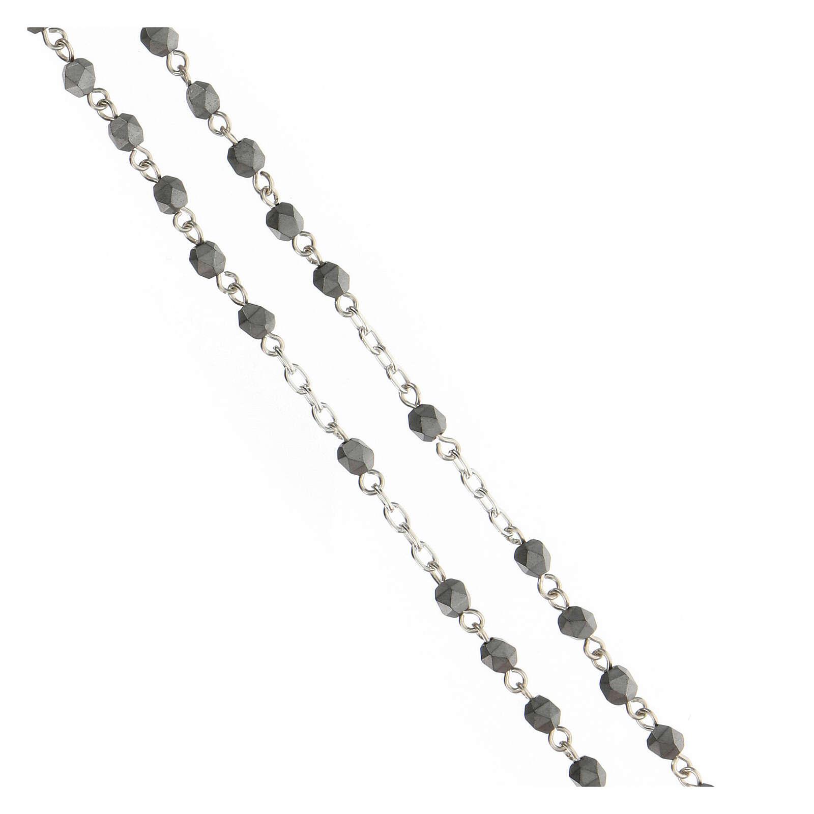 Terço prata 925 contas hematita multifacetada cinzentas 4 mm 4