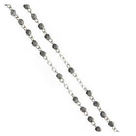 Terço prata 925 contas hematita multifacetada cinzentas 4 mm s3
