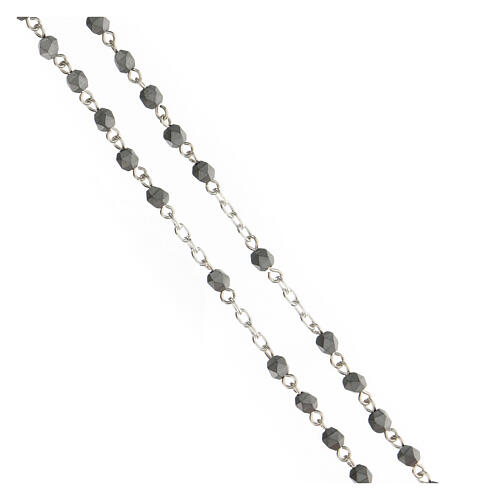 Terço prata 925 contas hematita multifacetada cinzentas 4 mm 3