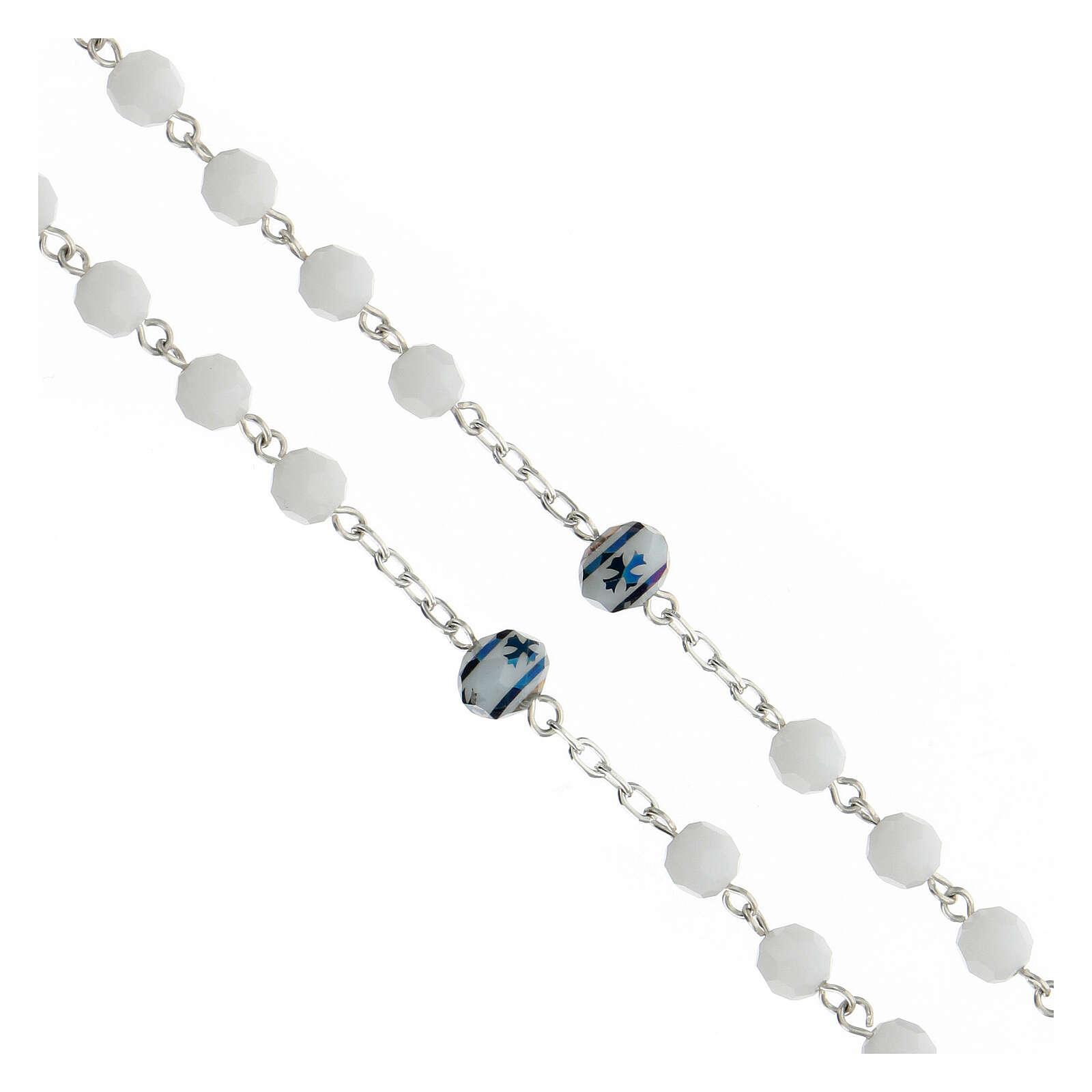 Rosario cristallo bianco 6 mm pater croce verde argento 925 4