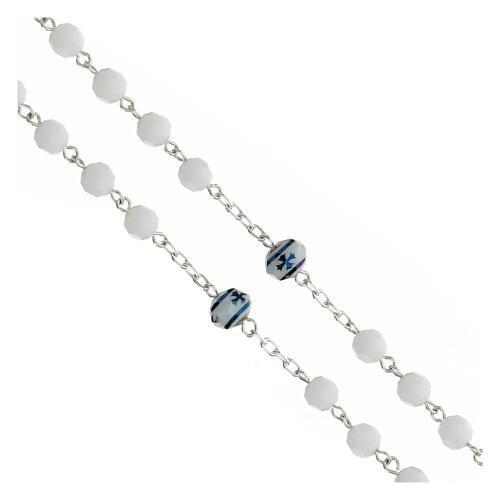 Rosario cristallo bianco 6 mm pater croce verde argento 925 3