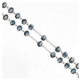Rosario cristal 6x8 mm granos cruz plata 925 s3