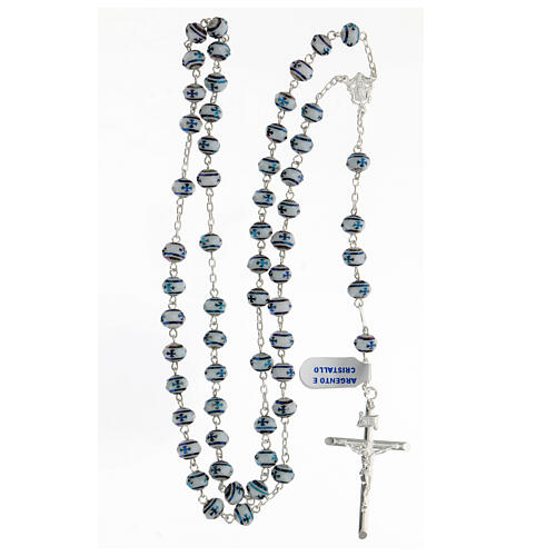 Rosario cristal 6x8 mm granos cruz plata 925 4