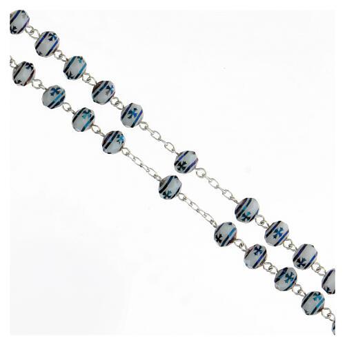 Rosario cristallo 6x8 mm grani croce argento 925 3