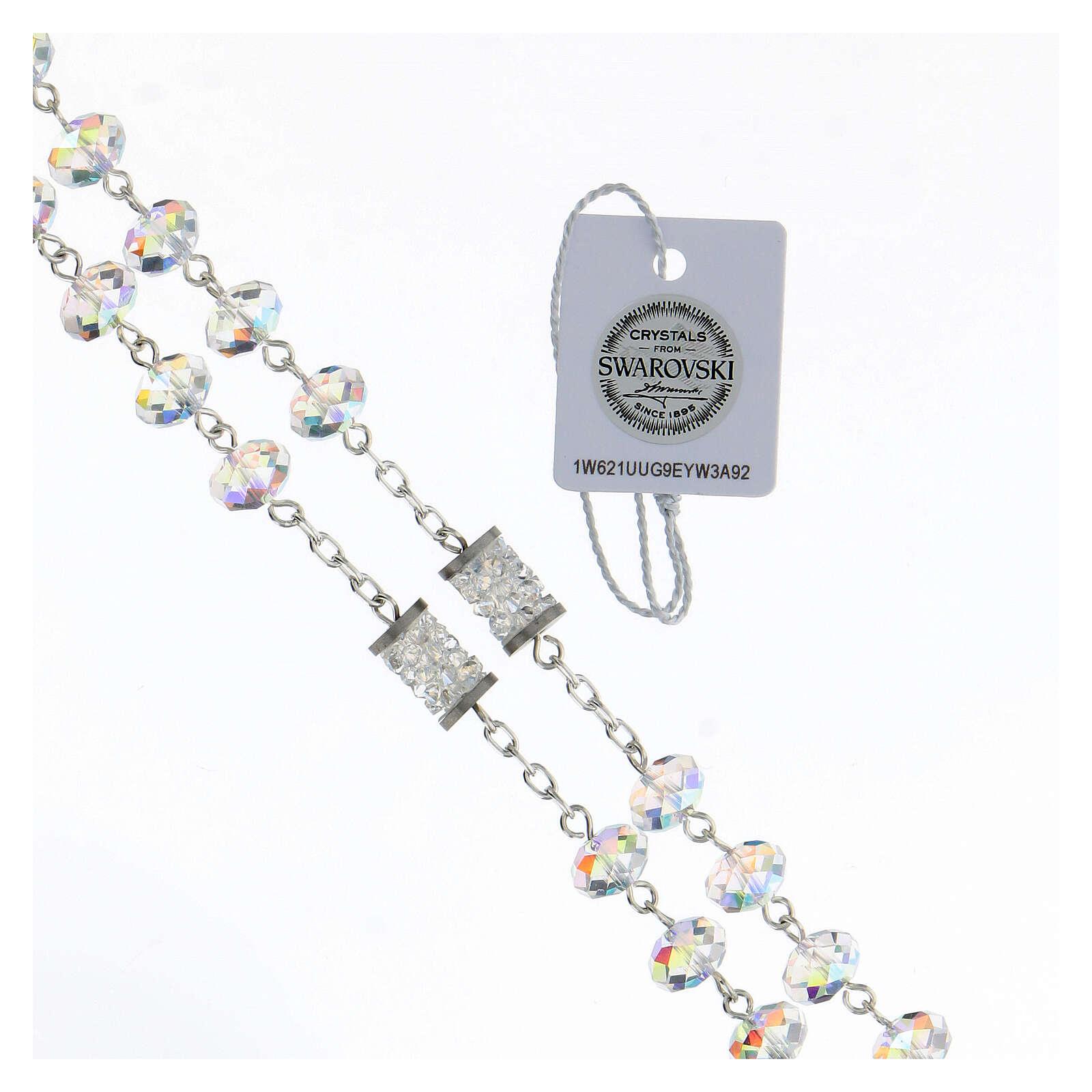 Rosario Swarovski grani 8 mm briolé pater bussolotto argento 925 4