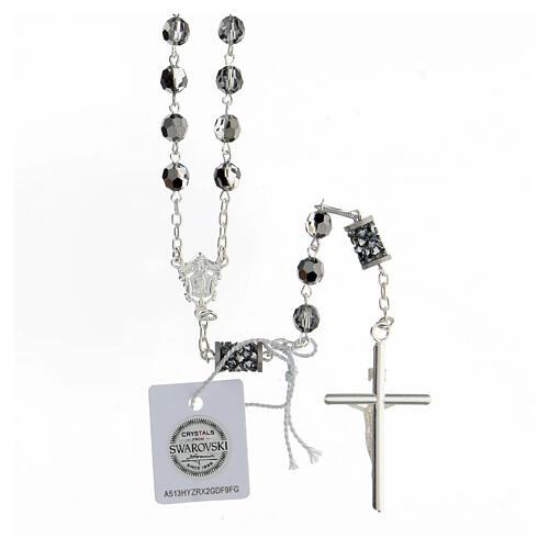 Chapelet Swarovski gris pater cylindriques argent 925 croix tubulaire 2
