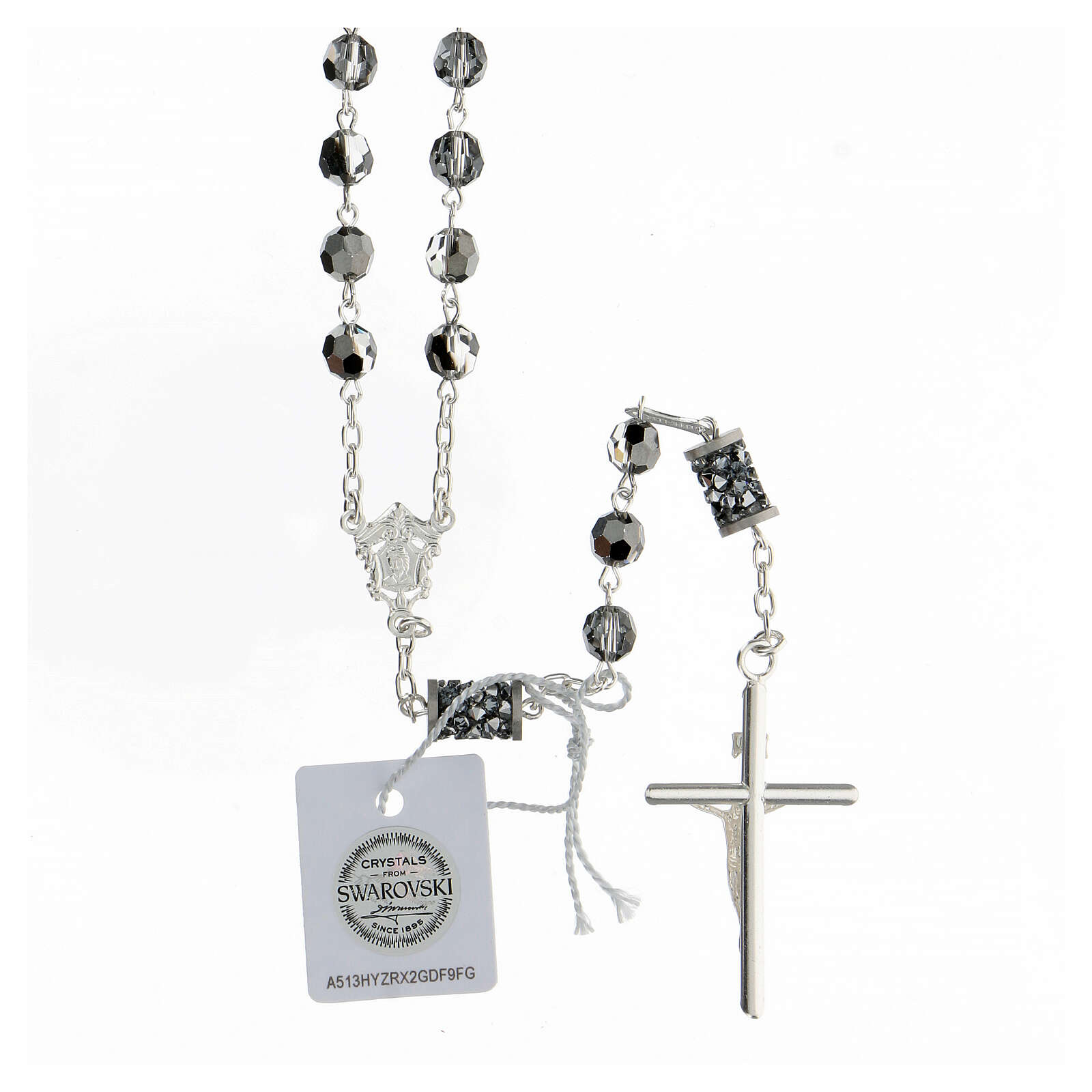 Rosario Swarovski grigi pater bussolotti argento 925 croce tubolare 4