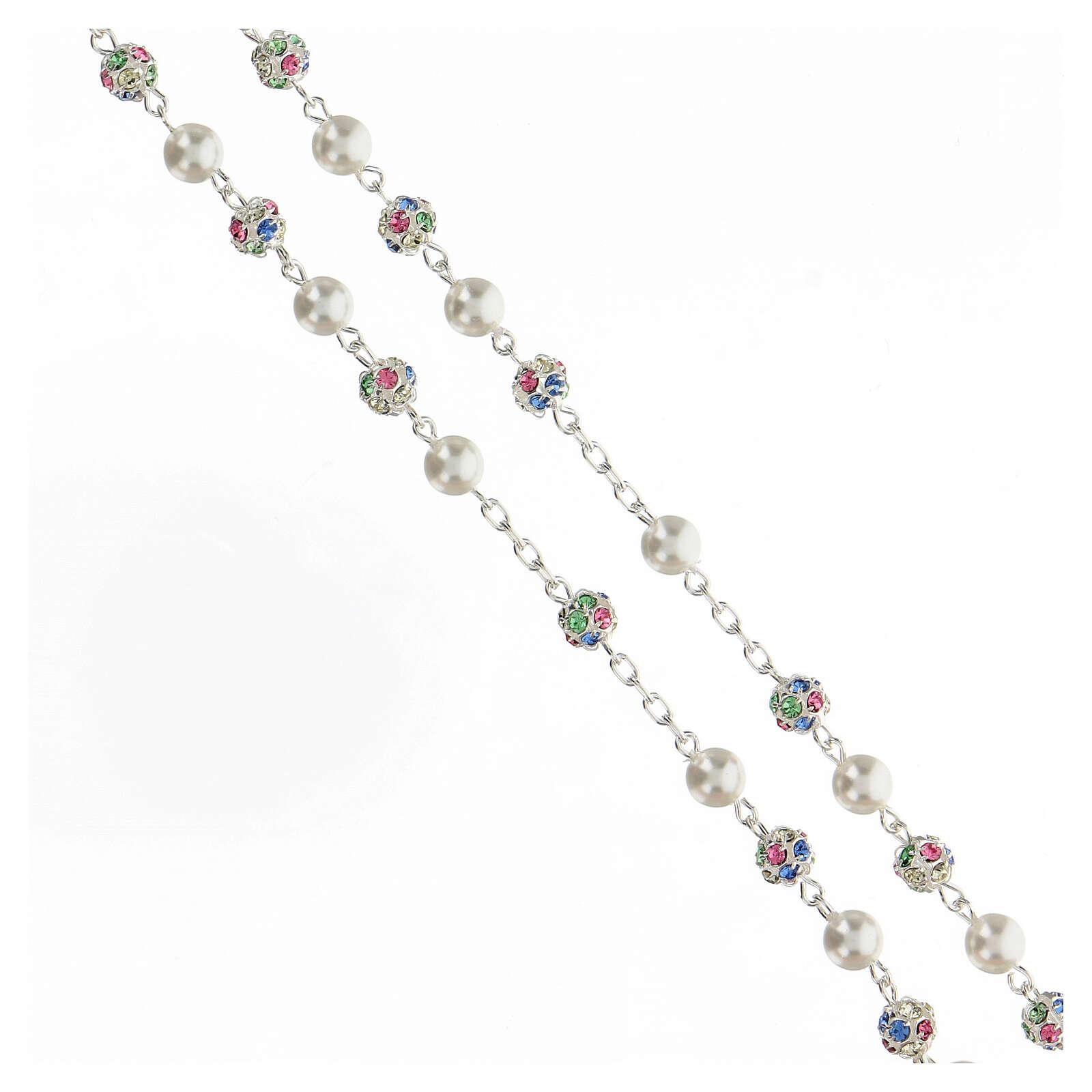 Terço prata 925 contas cristais strass multicoloridos 6 mm e pérolas 4