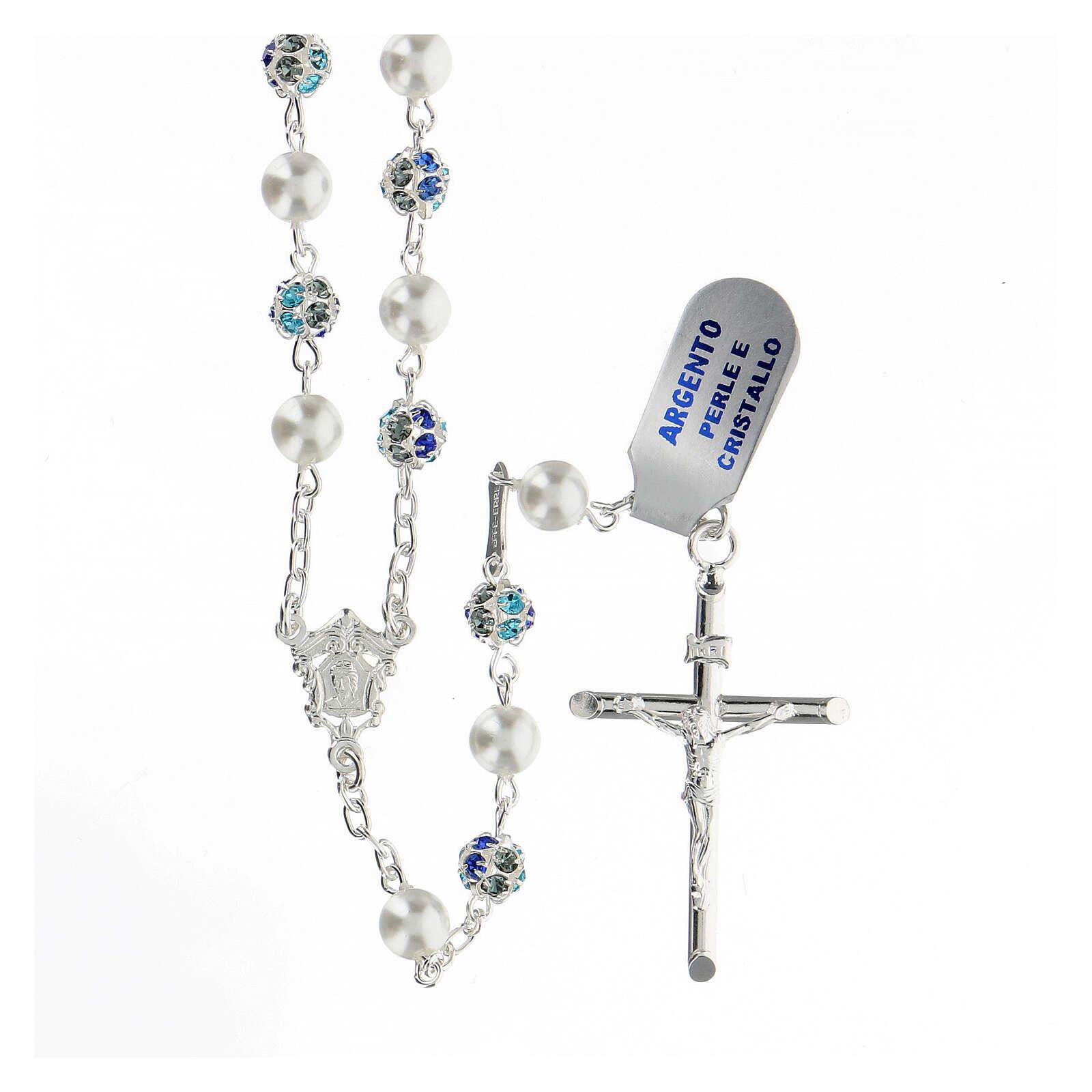 Rosario plata 925 perlas cuentas strass azul 6 mm 4