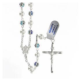 Rosario plata 925 perlas cuentas strass azul 6 mm s1