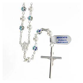 Rosario plata 925 perlas cuentas strass azul 6 mm s2