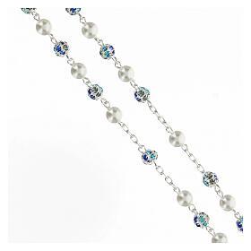Rosario plata 925 perlas cuentas strass azul 6 mm s3