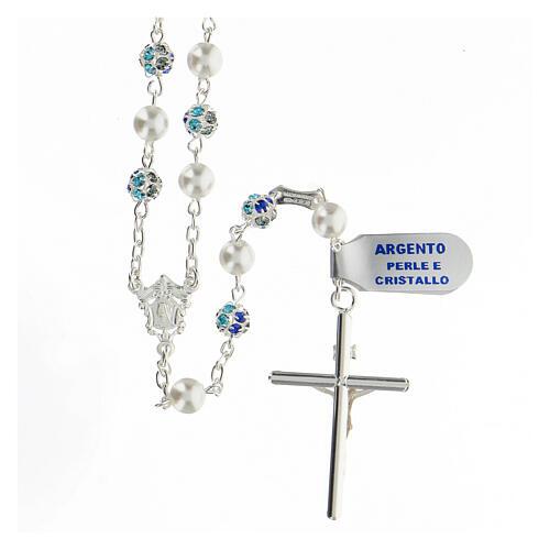 Rosario plata 925 perlas cuentas strass azul 6 mm 2