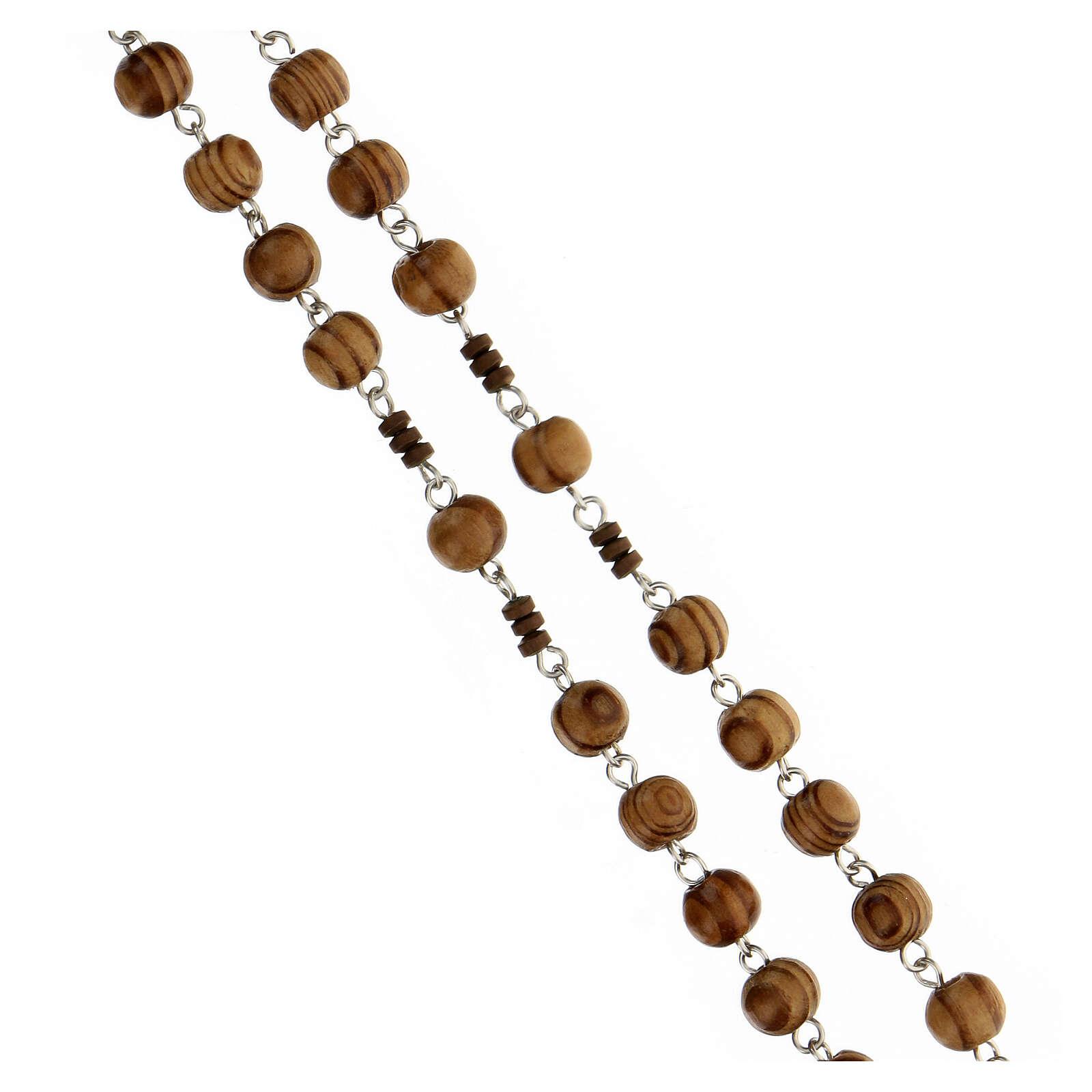 Rosario grani legno maculato 6 mm pater ematite marrone argento 925 4
