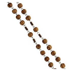 Rosario grani legno maculato 6 mm pater ematite marrone argento 925 s3