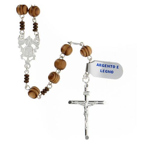 Rosario grani legno maculato 6 mm pater ematite marrone argento 925 2