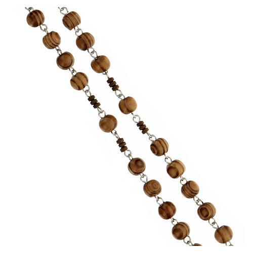 Rosario grani legno maculato 6 mm pater ematite marrone argento 925 3