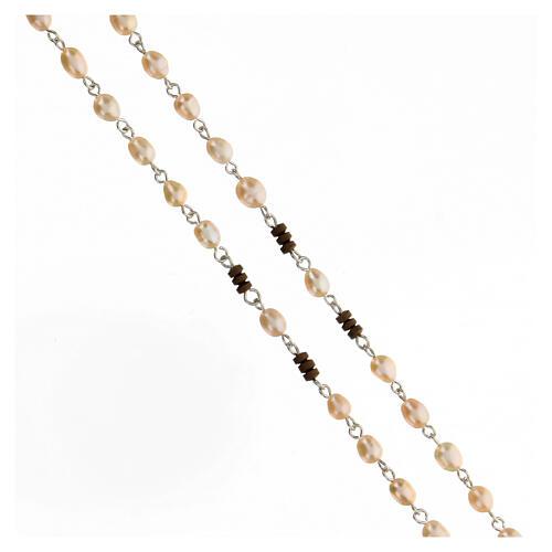 Rosario perle di fiume rosa pater ematite marrone argento 925 3