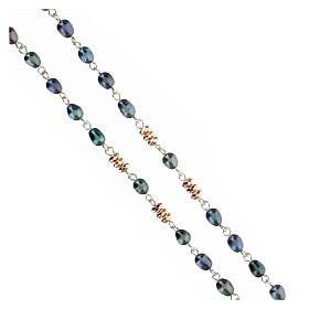 Chapelet perles d'eau douce effet scarabée pater hématite bronze argent 925 s3