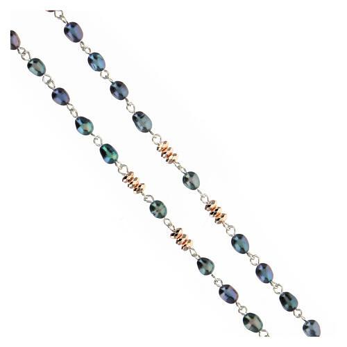 Chapelet perles d'eau douce effet scarabée pater hématite bronze argent 925 3