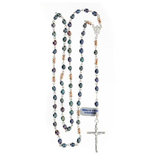 Chapelet perles d'eau douce effet scarabée pater hématite bronze argent 925 4