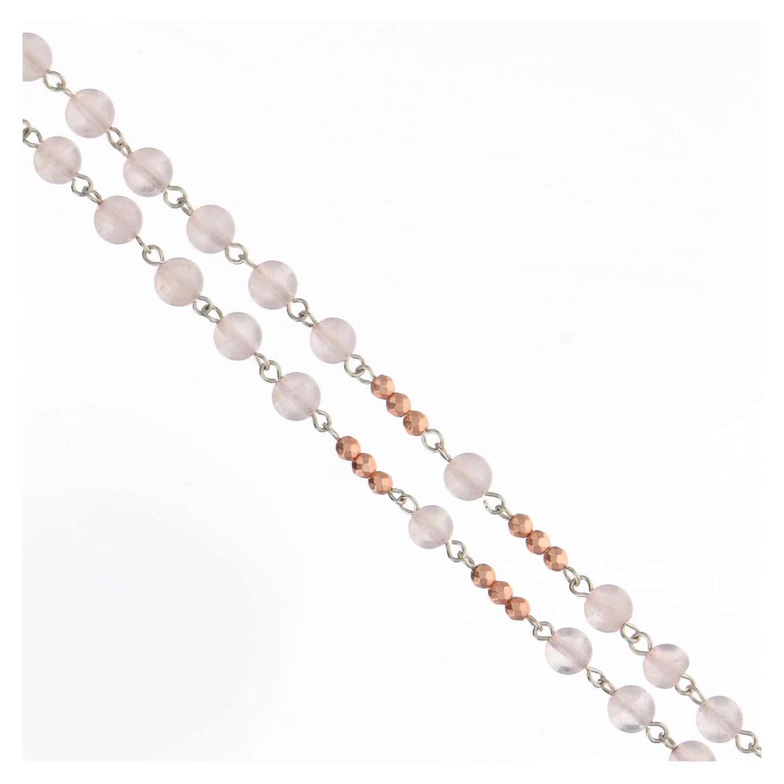 Rosario grani 6 mm quarzo rosa pater ematite rosata argento 925 4