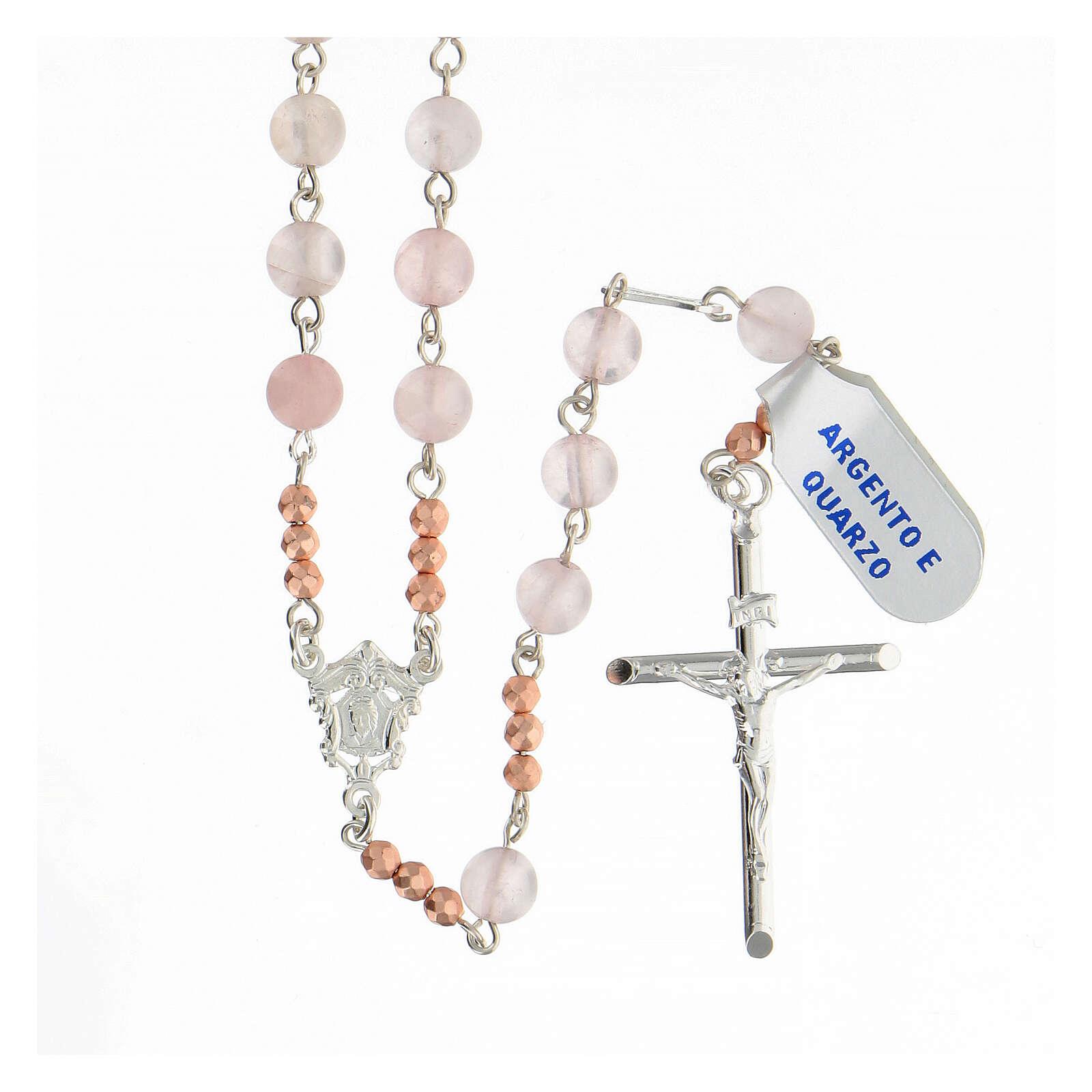 Terço prata 925 contas de quartzo rosa e contas Pai Nosso hematita rosada 4
